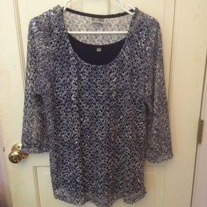 JM Collection  women's blouse Navy lacey. size L